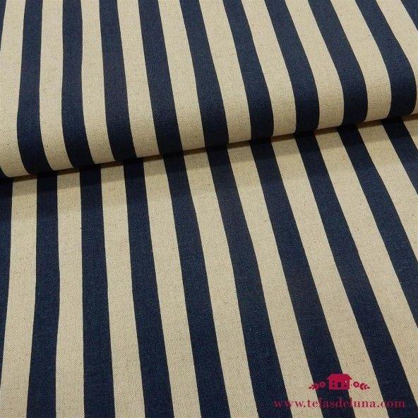 Tela japonesa rayas azul marino Sevenberry