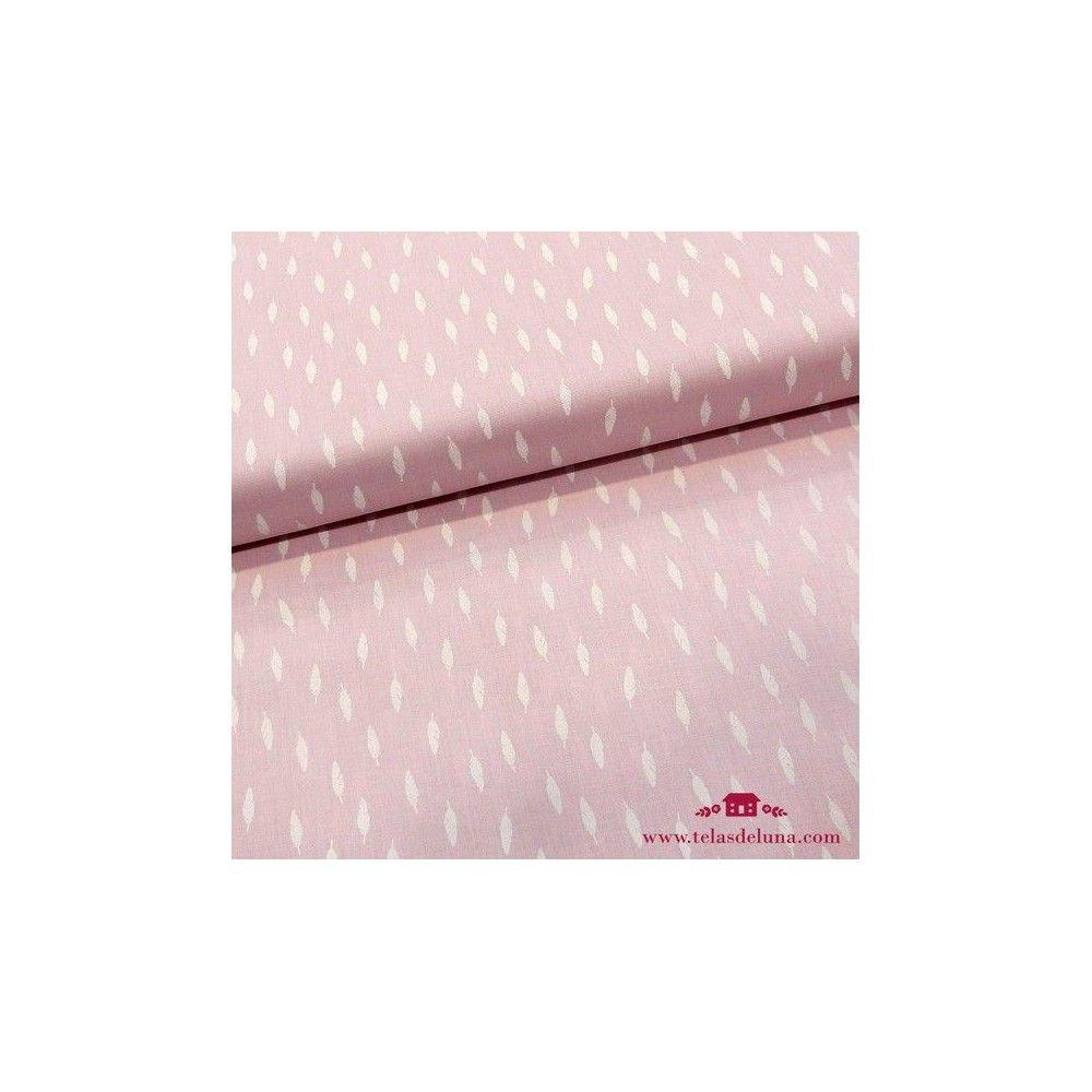 Tela jersey rosa plumas blancas