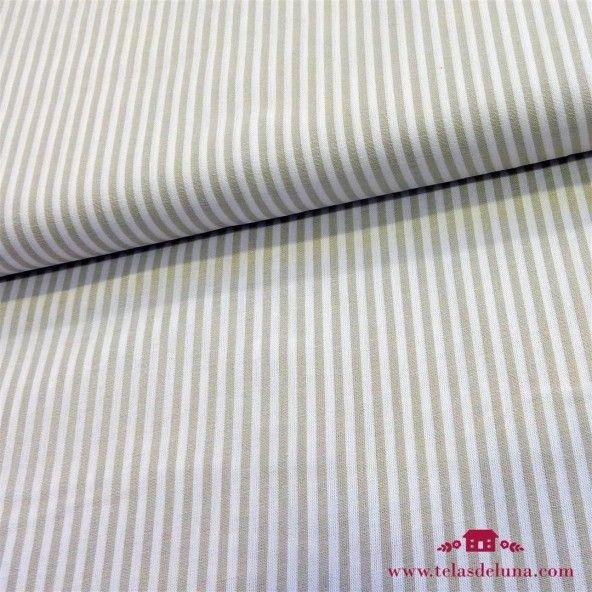 Tela tramada rayas beige 4mm