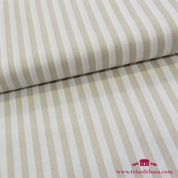 Tela tramada rayas beige 10mm