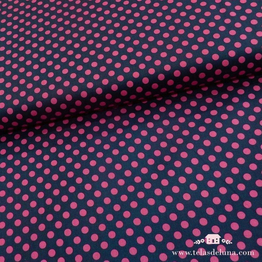 Tela azul marino topos rosa fucsia
