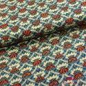 Tela azul orquideas rojas