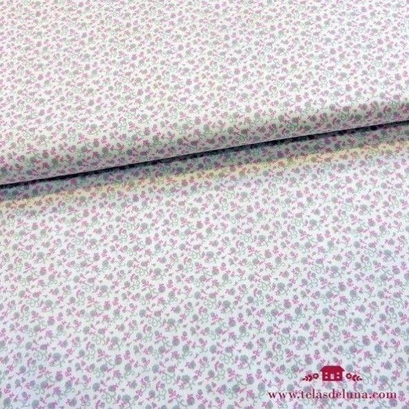 Tela blanca flores gris rosa