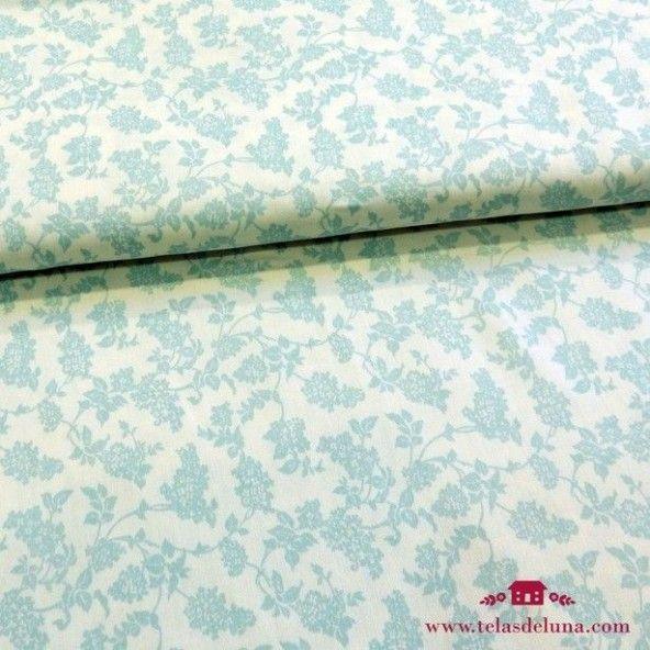 Tela blanco roto hojas azul verdoso