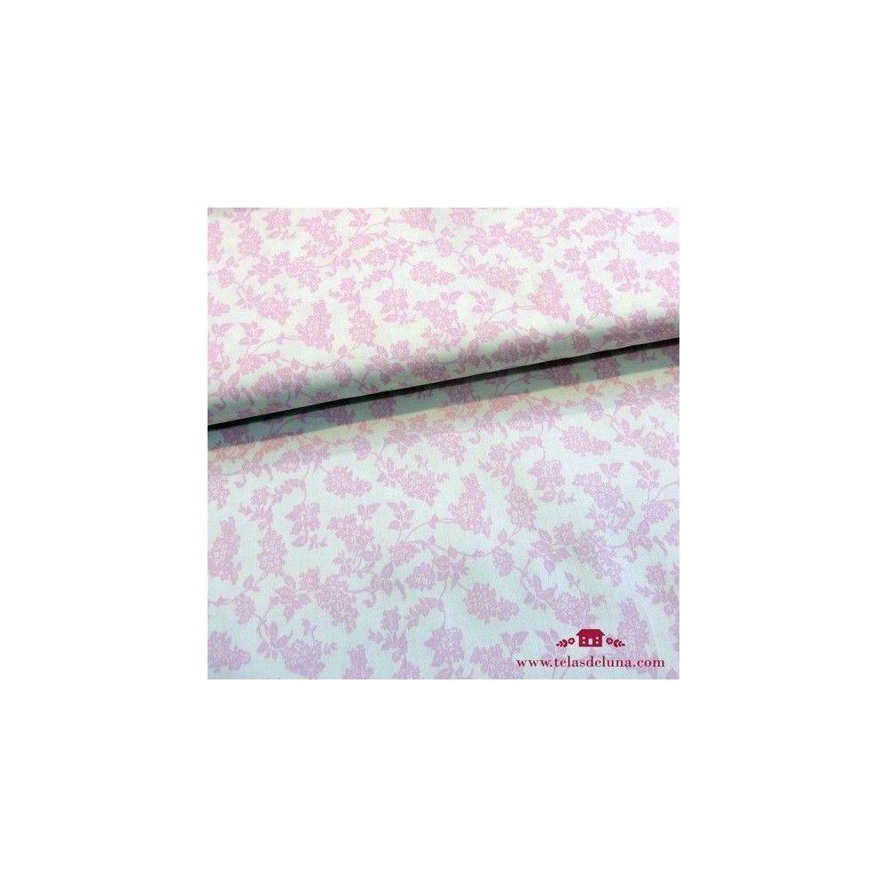 Tela blanca hojas rosa