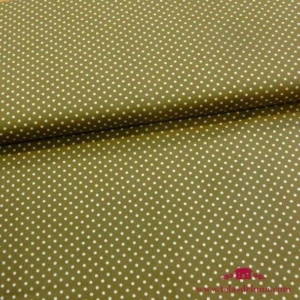 Tela popelin verde musgo lunares