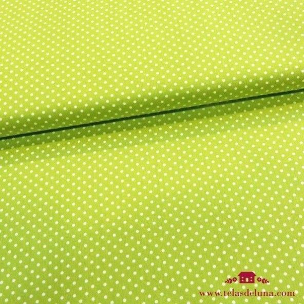 Tela popelin verde pistacho lunares