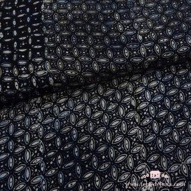 Viscosa azul oscuro batik petalos
