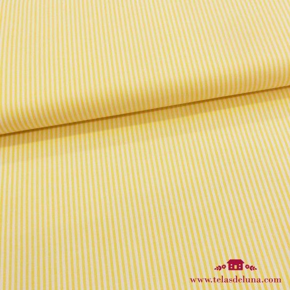 Tela rayas blanco amarilla