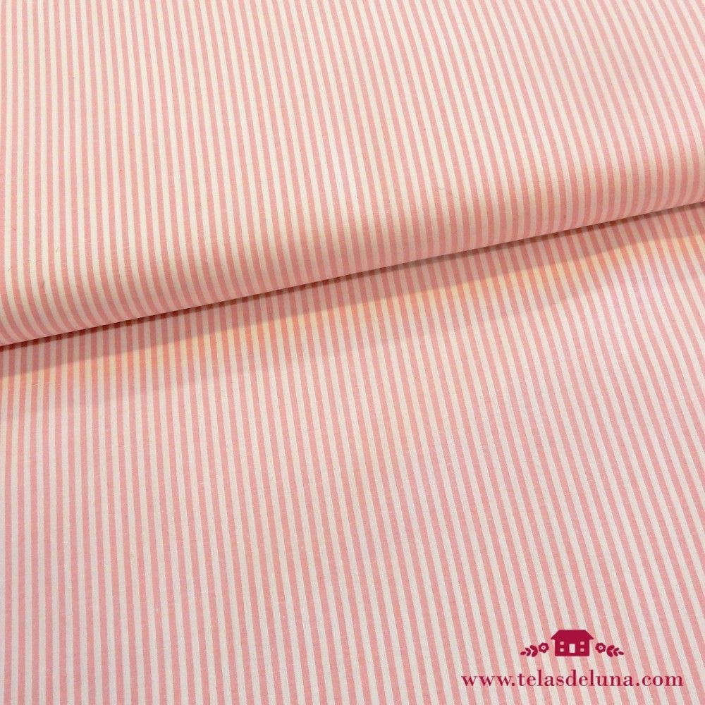 Tela rayas blanco rosa
