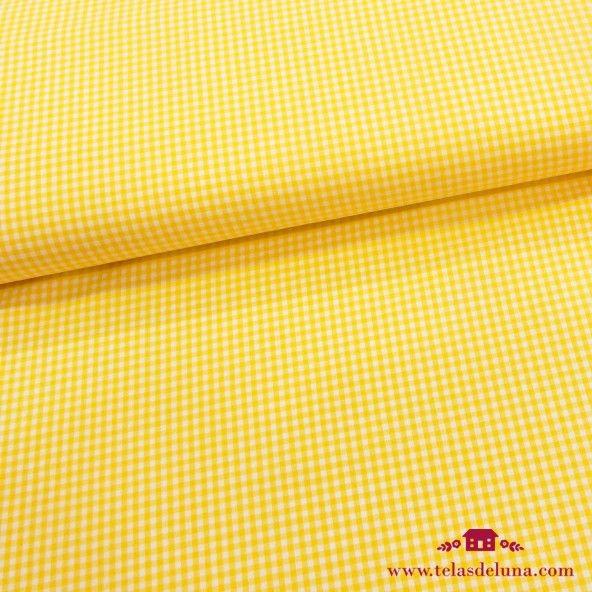 Tela vichy amarillo blanca