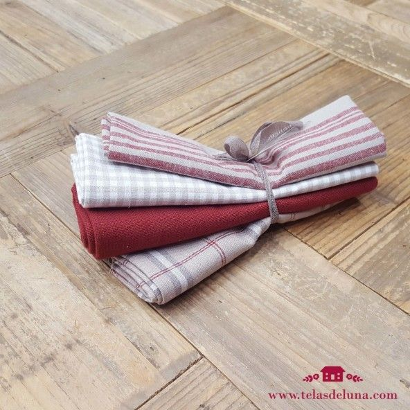 Fat quarters lineas rojas