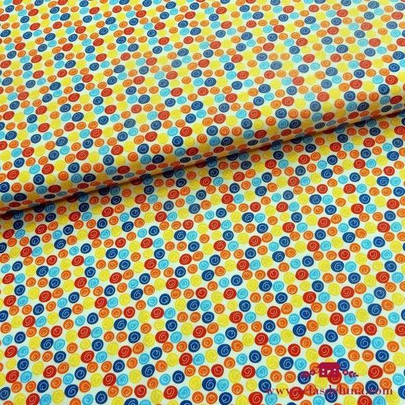 Tela estampada circulos de colores