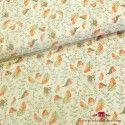 Tela estampada pajaros y hojas