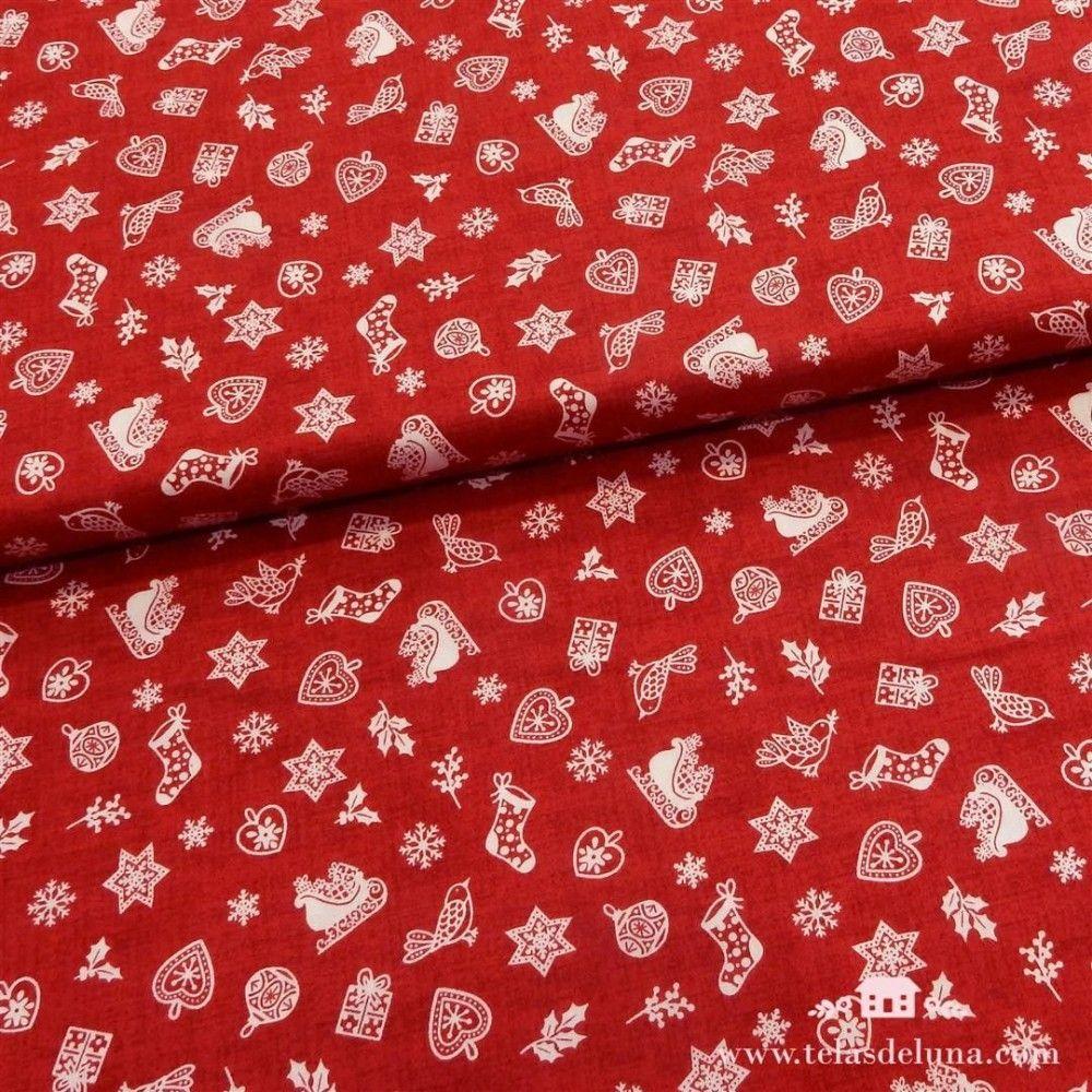 Tela roja motivos navideños