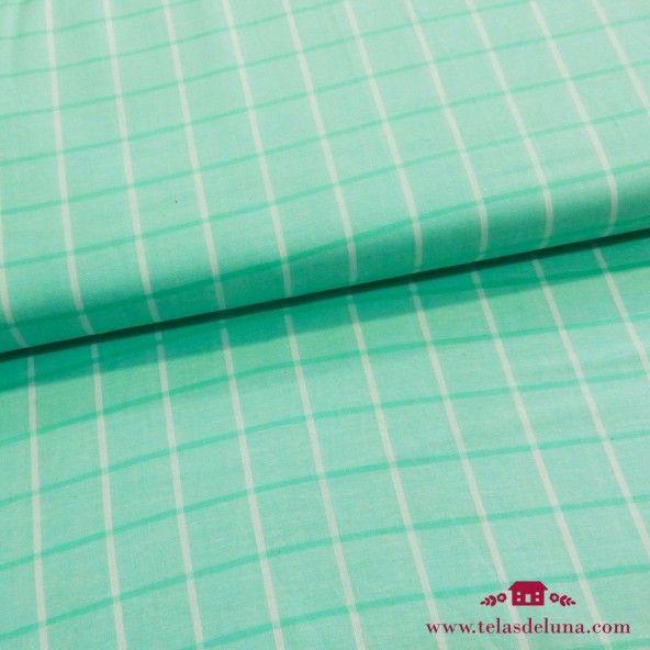 Algodon peinado verde cuadrados 3cm
