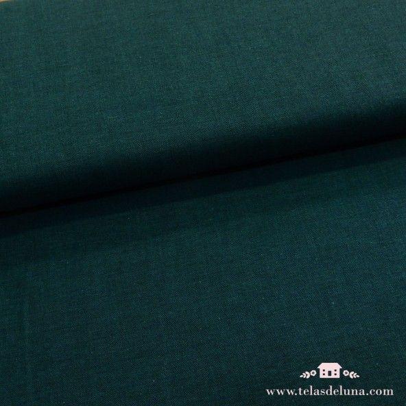 Tela algodón verde oscuro