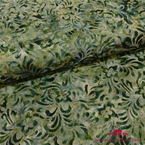 Tela batik verdes mostaza