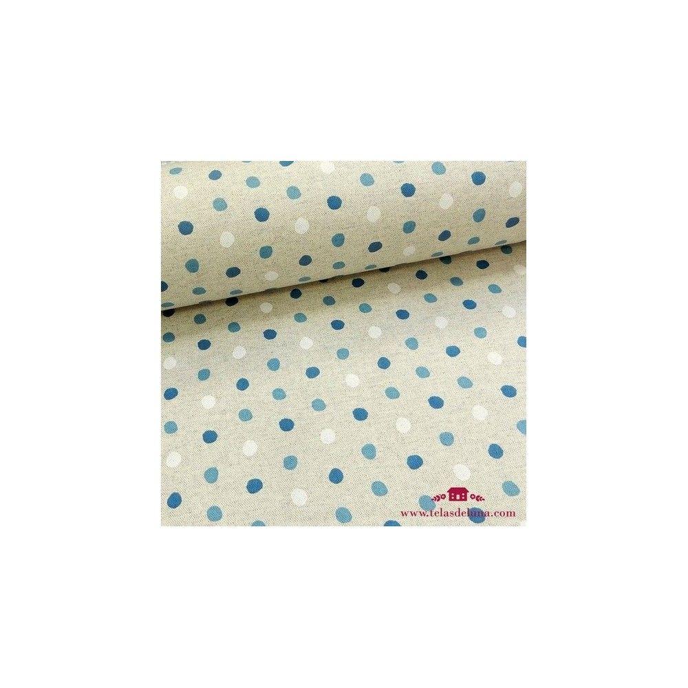Mantel resinado antimanchas topos azules