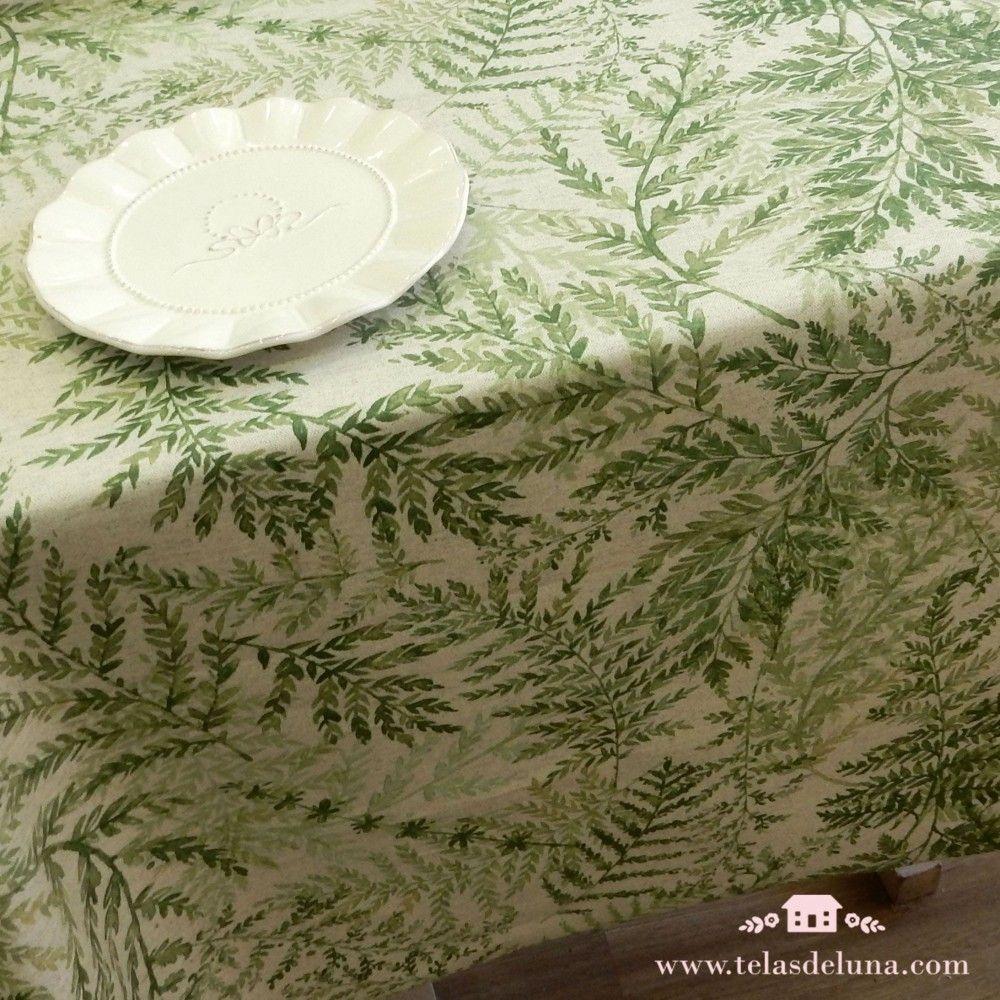 Mantel antimanchas ramajes verdes