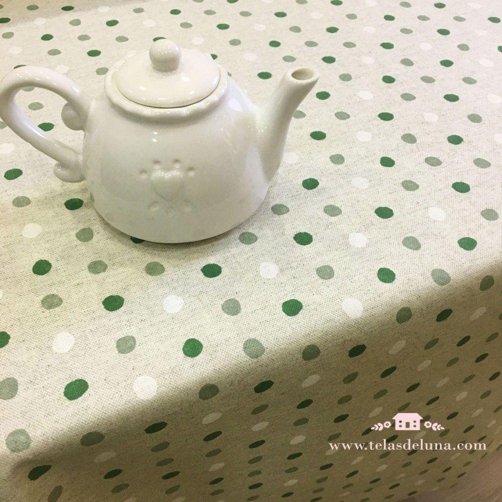 Mantel antimanchas topos verdes