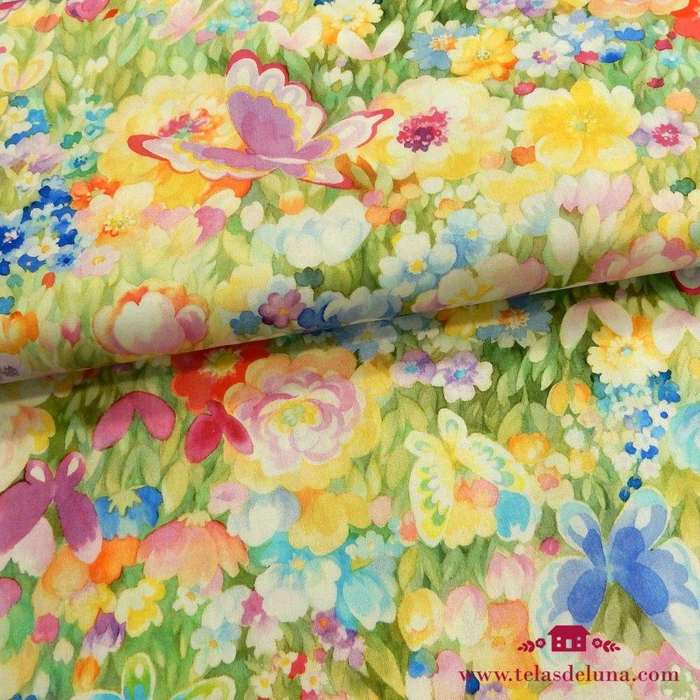 Tela mariposas flores coloridas