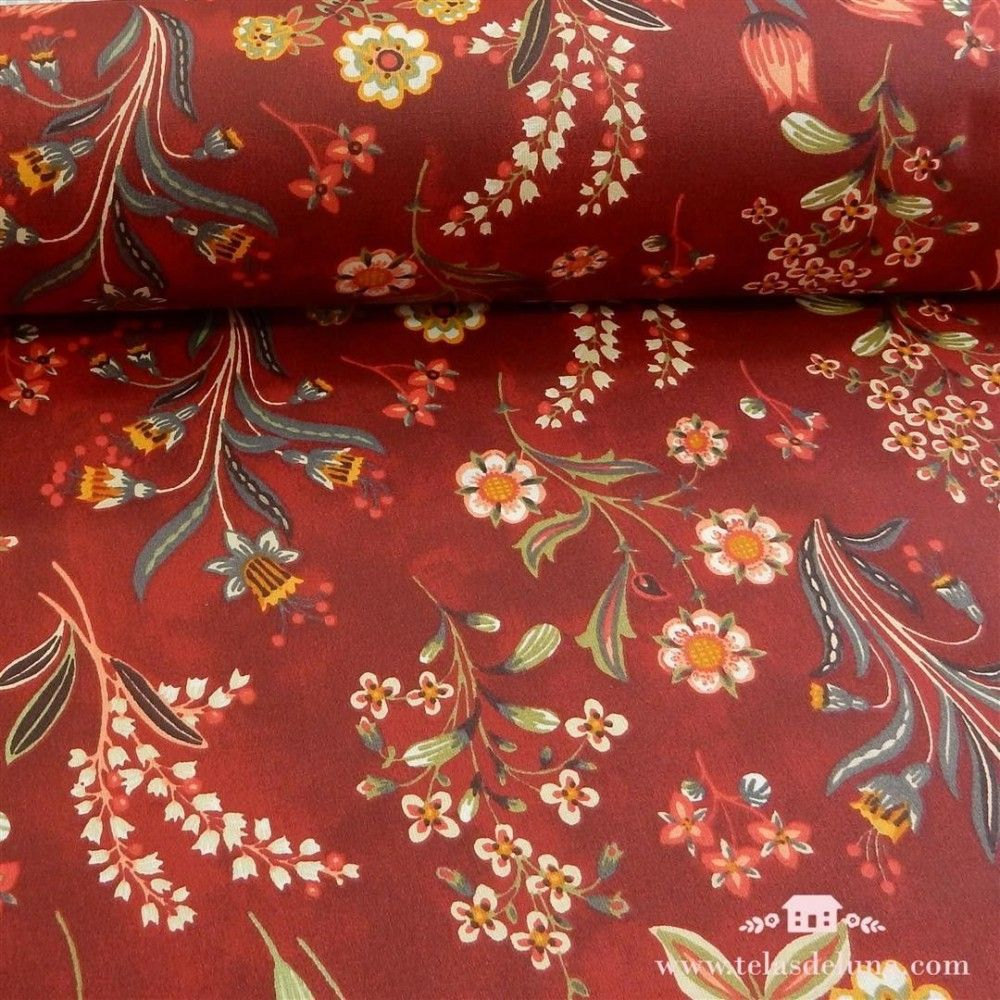 Mantel antimanchas rojo flores