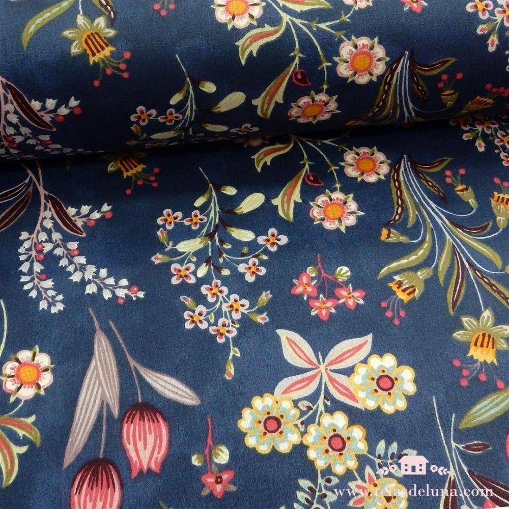 Mantel antimanchas azul flores