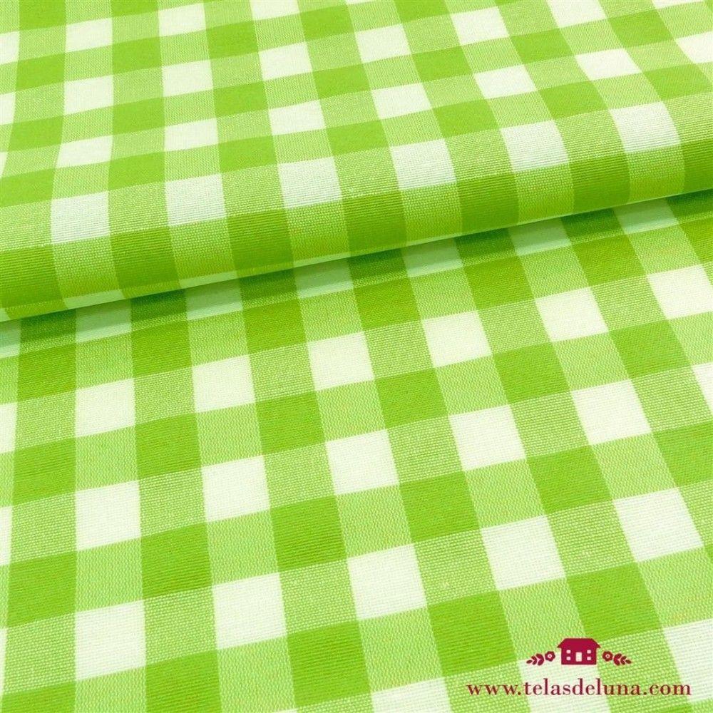 Mantel antimanchas vichy verde