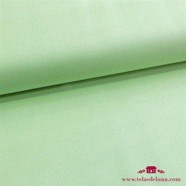 Tela verde lisa algodón perla