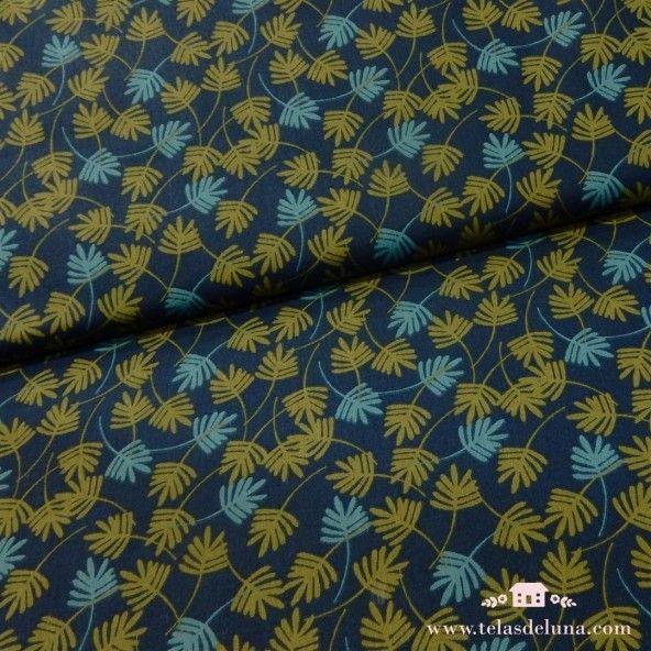 TelA azul hojas verdes