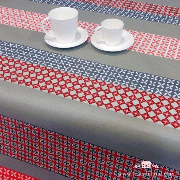 Mantel antimanchas mosaico rojo gris