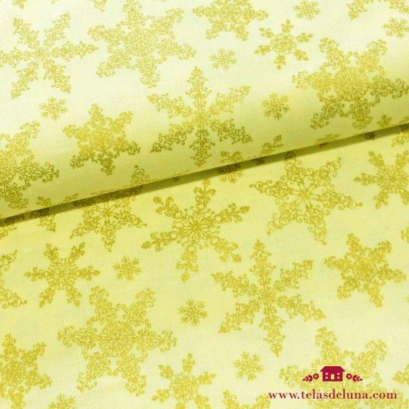Tela estrellas navidad doradas