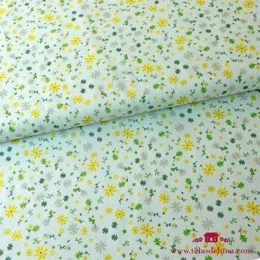 Tela flores amarillas y verdes