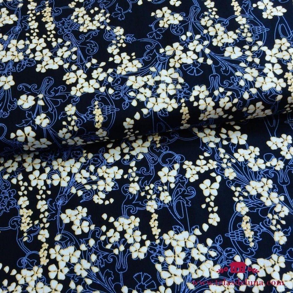 Tela Gutermann flores azul marino