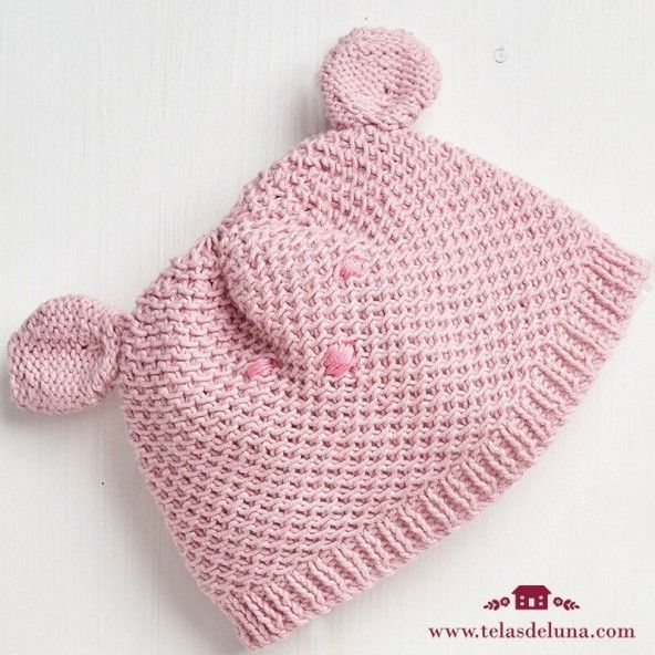 KIT GANCHILLO- Gorro y patucos rosa