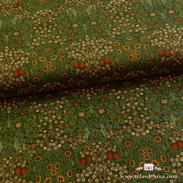 Tela Blackthorn 1892 verde - William Morris