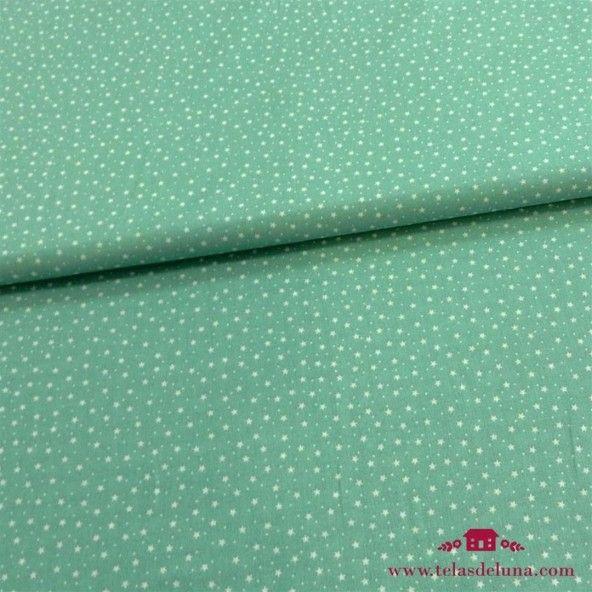 Tela hidrófuga y antibacteriana estrellas verde