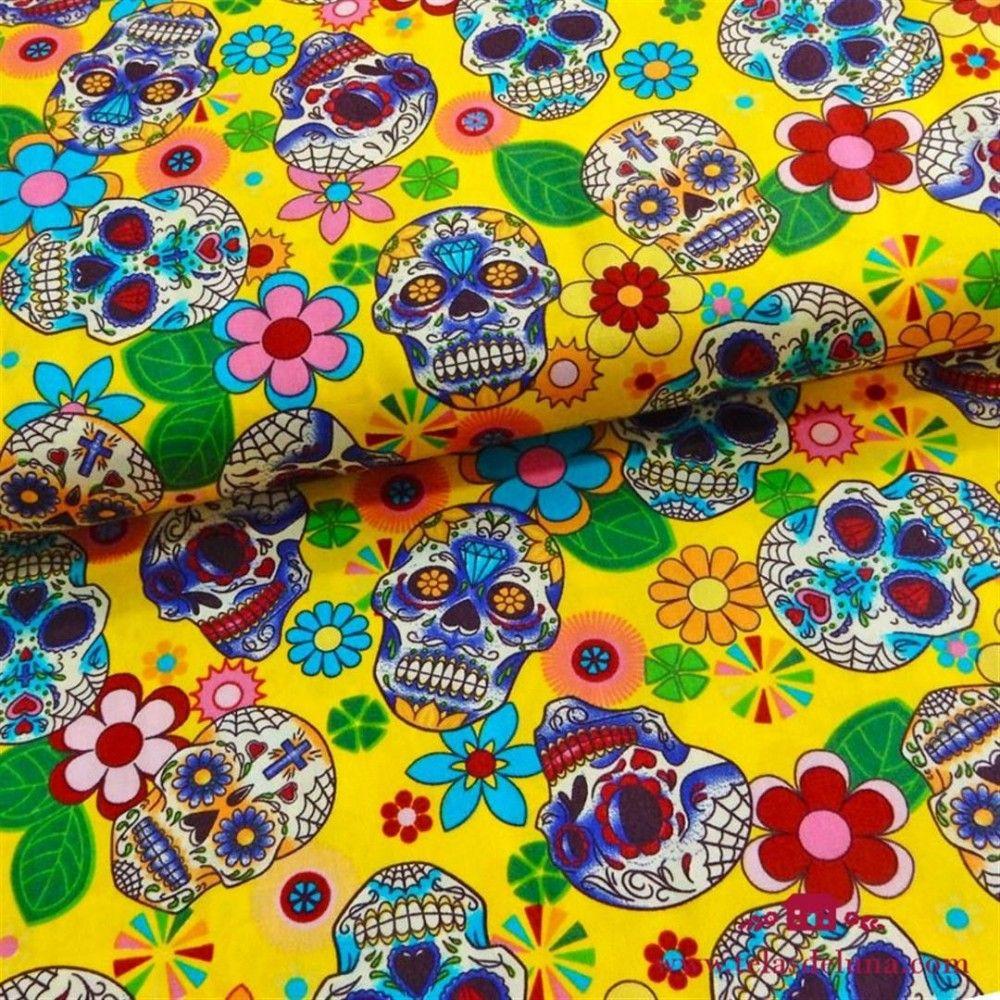 Tela calavera mexicana amarillo