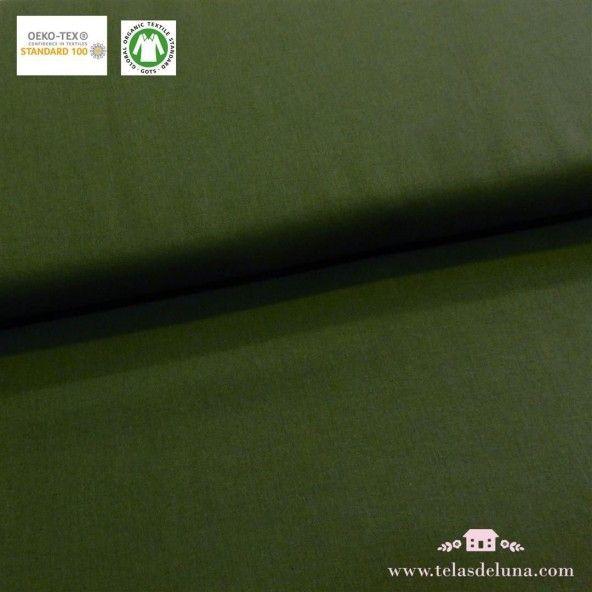 Tela orgánica verde abeto