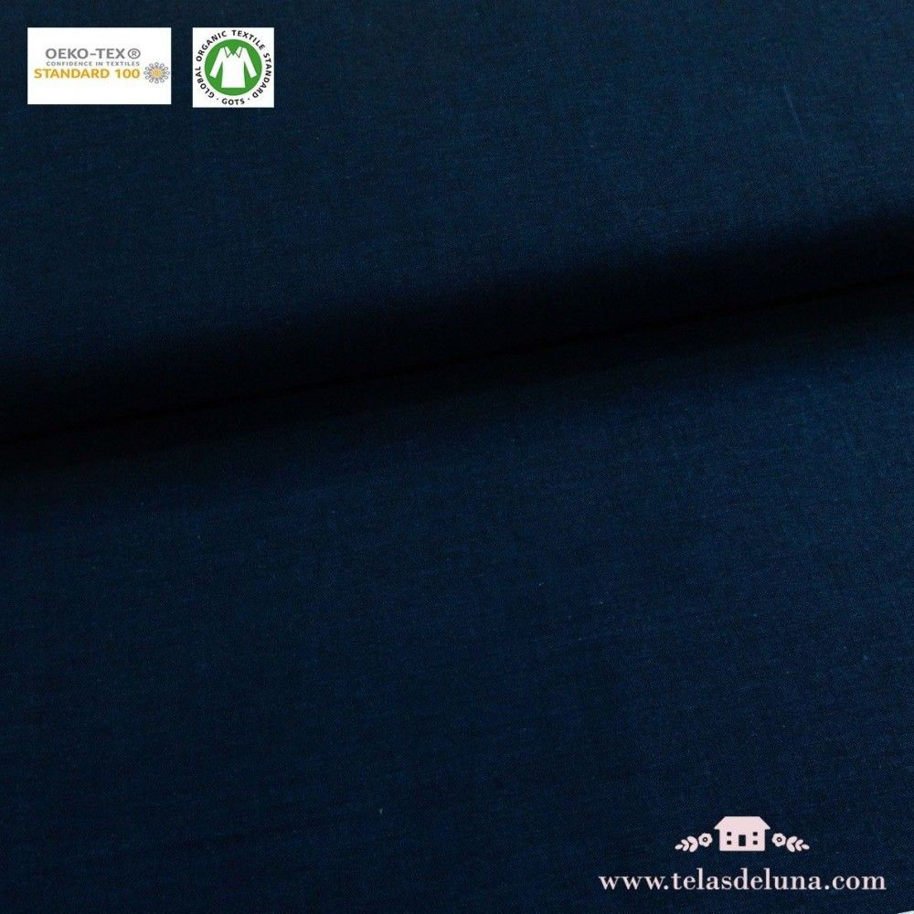 Tela orgánica azul marino