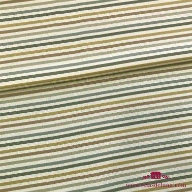 Tela hidrófuga y antibacteriana rayas beige