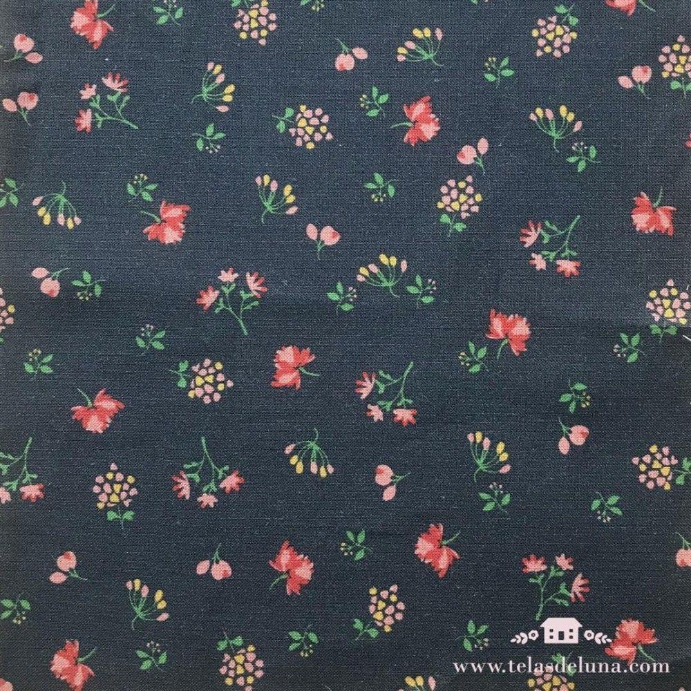 Tela hidrófuga y antibacteriana flores rojas