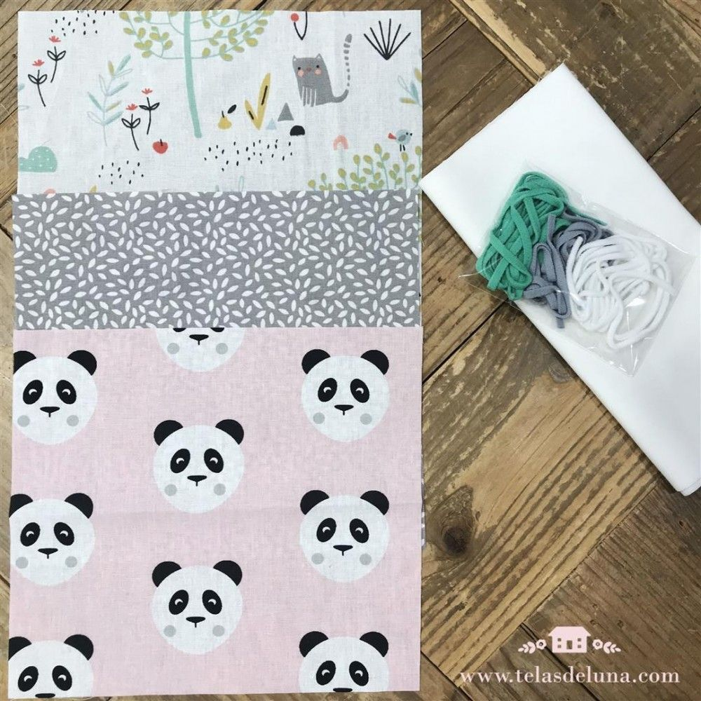 Kit mascarillas vuelta al cole 6 - osos panda rosa