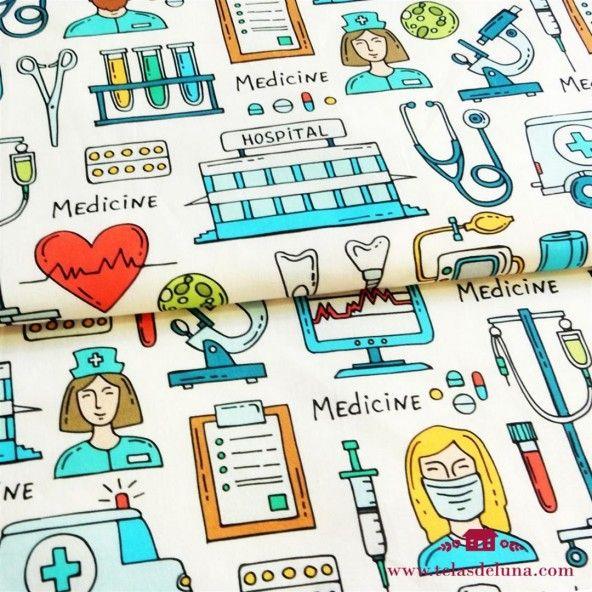 Tela sanitarios motivo grande