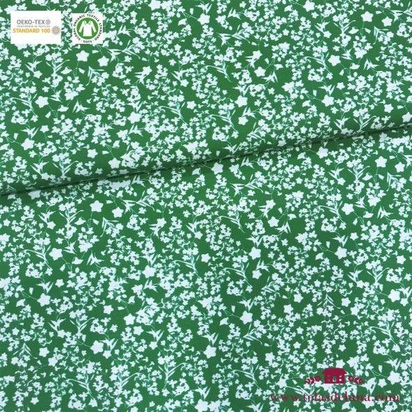 Tela hidrófuga y antibacteriana verde con flores