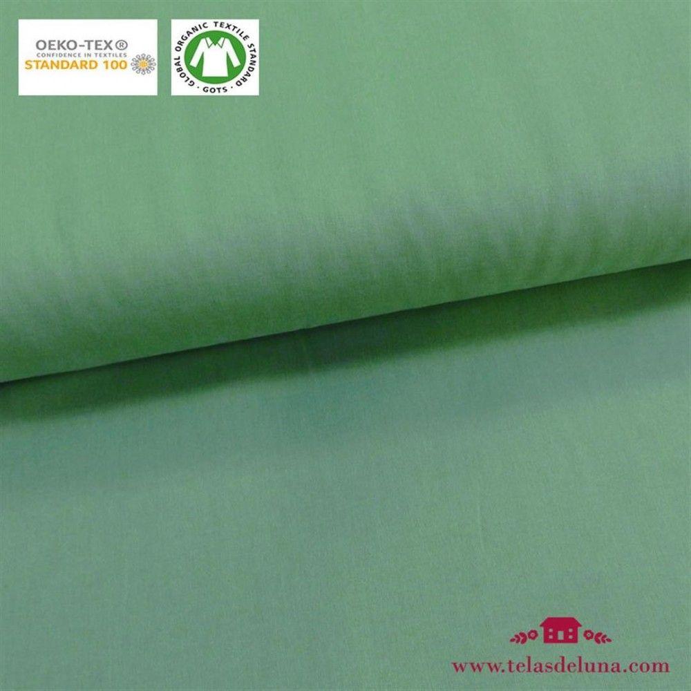 Tela orgánica lisa verde mint oscuro