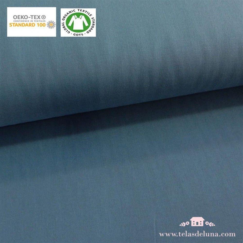 Tela orgánica lisa azul grisáceo