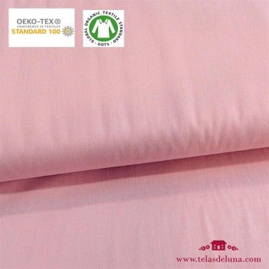 Tela orgánica lisa rosa pastel