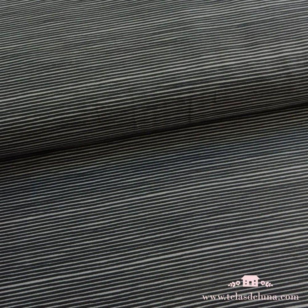 Tela jersey rayas negras y gris